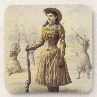 Vintages Fräulein Annie Oakley, Western-Cowgirl Getränkeuntersetzer