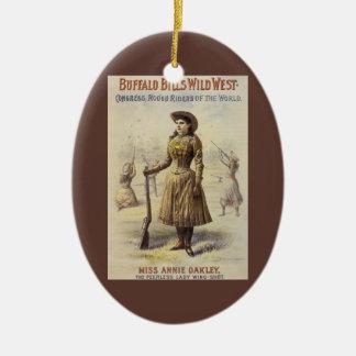 Vintages Fräulein Annie Oakley, Western-Cowgirl Keramik Ornament