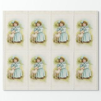 Vintages Fräulein With Lamb Geschenkpapierrolle
