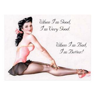 Vintages freches Ballerina-Button herauf Mädchen Postkarte