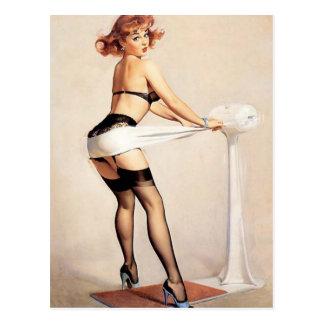 Vintages freches Fitness-Guru-Button herauf Postkarten
