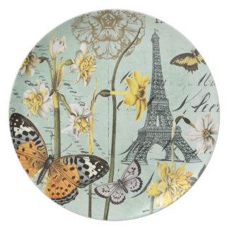 Vintages Frühjahr in der Turmplatte Paris Eiffel Flache Teller