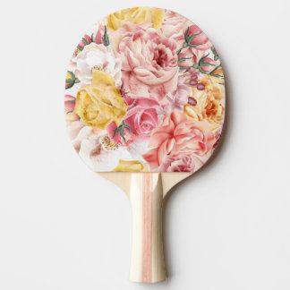 Vintages Frühlingsblumenblumenstrauß Grungemuster Tischtennis Schläger