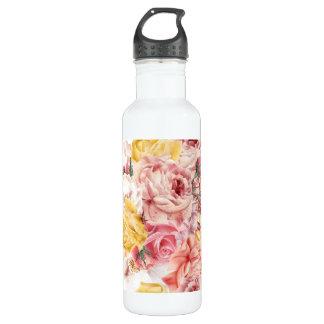 Vintages Frühlingsblumenblumenstrauß Grungemuster Trinkflasche