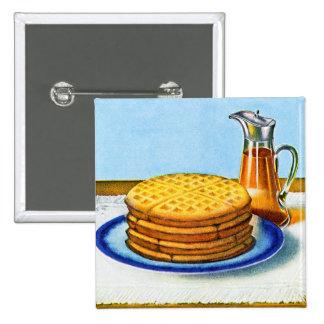 Vintages Frühstücks-Retro Waffeln und Sirup Quadratischer Button 5,1 Cm