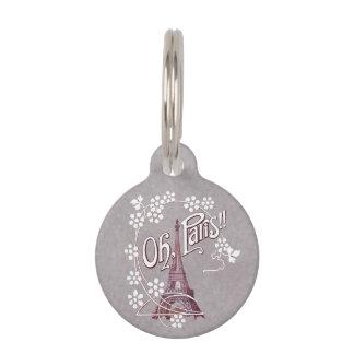 Vintages Gänseblümchen Eiffel-Turm-oh Paris Haustiermarke