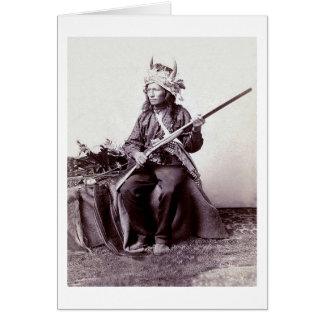 Vintages gebürtiger Amerikaner-Krieger-Porträt Karte