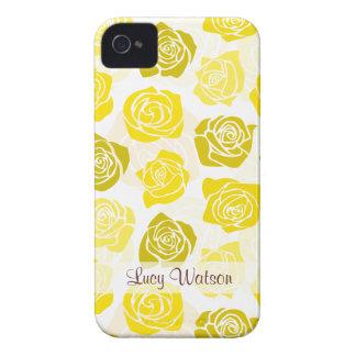 Vintages gelbes Rosen BlackBerry-mutiger Kasten iPhone 4 Case-Mate Hüllen