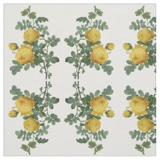 Vintages gelbes Rosenmalereigewebe Stoff