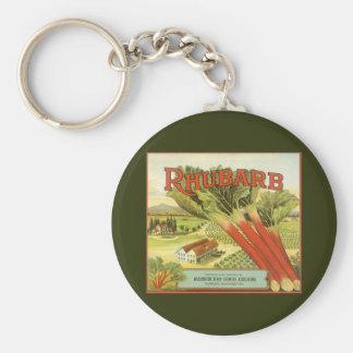 Vintages Gemüse kann Kunst, Rhabarber-Bauernhof Schlüsselanhänger