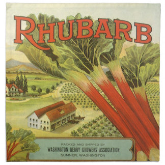 Vintages Gemüse kann Kunst, Rhabarber-Bauernhof Stoffserviette