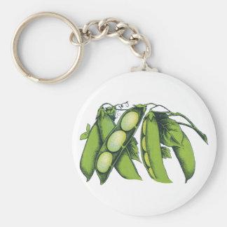 Vintages Gemüse; Limabohnen, Bio Schlüsselanhänger