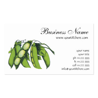 Vintages Gemüse; Limabohnen, Bio Visitenkarten Vorlagen