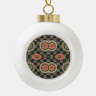 Vintages geometrisches Blumen auf Karos Keramik Kugel-Ornament