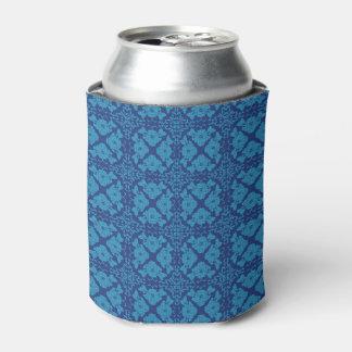 Vintages geometrisches Blumenblau auf Blau Dosenkühler