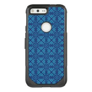 Vintages geometrisches Blumenblau auf Blau OtterBox Commuter Google Pixel Hülle