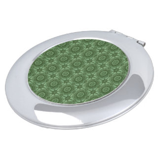 Vintages geometrisches Blumenmuster-weises Grün Taschenspiegel