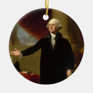 Vintages George- Washingtonporträt, das 2 malt Keramik Ornament