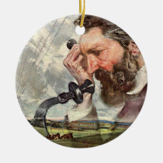 Vintages Geschäft, Alexander- Graham Belltelefon Keramik Ornament