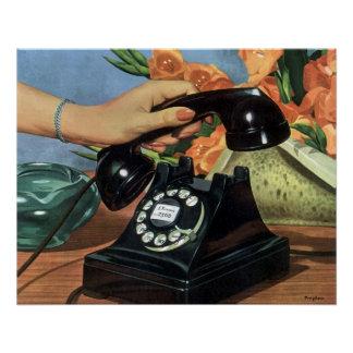 Vintages Geschäft, antikes Telefon mit Drehskala Poster