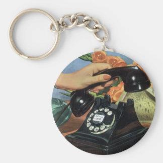 Vintages Geschäft, antikes Telefon mit Drehskala Schlüsselanhänger