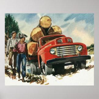 Vintages Geschäft, aufzeichnenlkw mit Holzfällern Poster