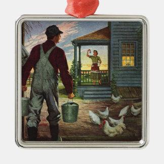 Vintages Geschäft, Bauernhof mit Bauern und Hühner Silbernes Ornament
