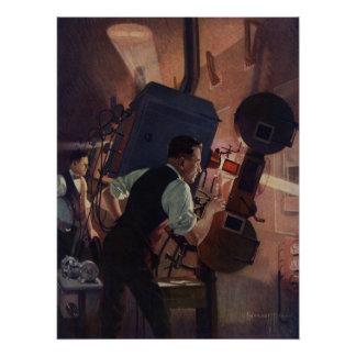Vintages Geschäft, Film-Theater-Filmvorführer Poster