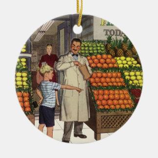 Vintages Geschäft, Frucht-Stand mit Keramik Ornament