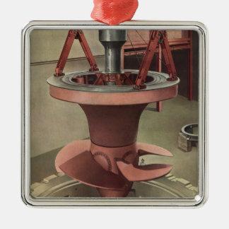 Vintages Geschäft, Generator mit riesiger Turbine Silbernes Ornament