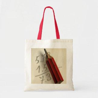 Vintages Geschäft, Mathe-Gleichung mit rotem Tragetasche