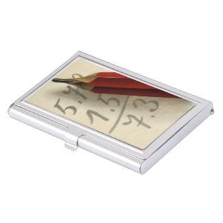 Vintages Geschäft, Mathe-Gleichung mit rotem Visitenkarten Dose