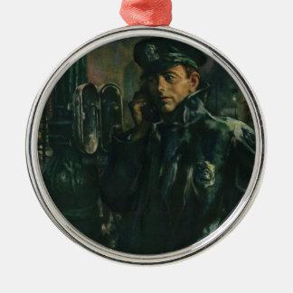 Vintages Geschäft, Polizist am Notruftelefon Silbernes Ornament