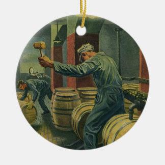 Vintages Geschäft, Weinherstellung, Wein-Fässer Keramik Ornament