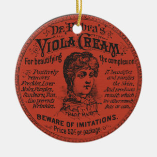 Vintages Gesichts-Creme-Verpacken Rundes Keramik Ornament