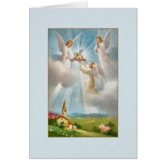 Vintages gestiegenes Lamm des Gottes und der Karte