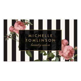 Vintages gestreiftes Salon-Mit Blumenschwarzes und Visitenkarten