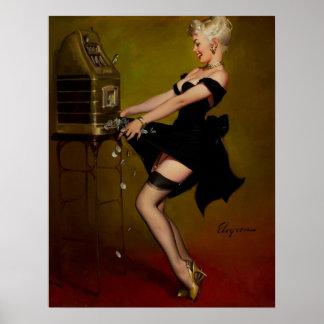 Vintages Gil Elvgren Schlitz-Maschinepinup-Mädchen Posterdrucke