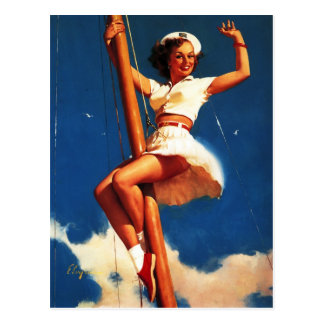 Vintages Gil Elvgren Segel-Boots-Segeln-Button HER Postkarte