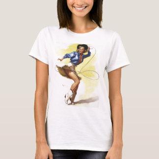 Vintages Gil Elvgren Western-Cowgirl-Button HERAUF T-Shirt