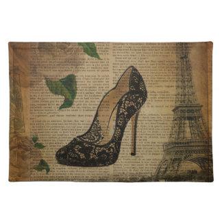 Vintages girly Stilett Schuh Turms Paris Eiffel Tischset