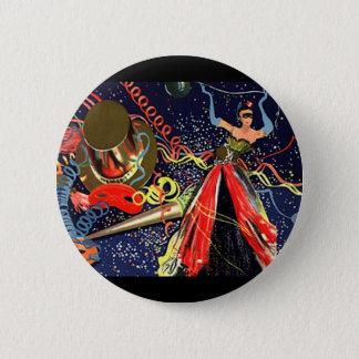 Vintages glückliches Silvester-Party mit Confetti Runder Button 5,1 Cm
