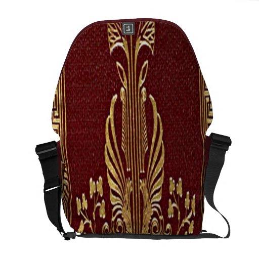 Vintages Gold prägeartige Kunst-Rickshaw-Bote-Tasc Kurier Taschen