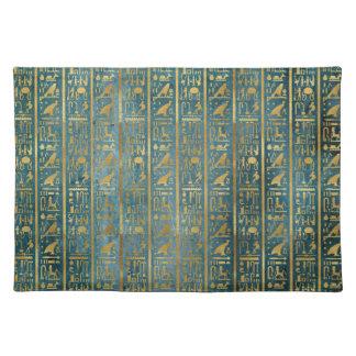 Vintages Goldägyptischer Papierdruck Stofftischset