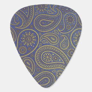 Vintages goldenes Paisley auf Blau Plektrum