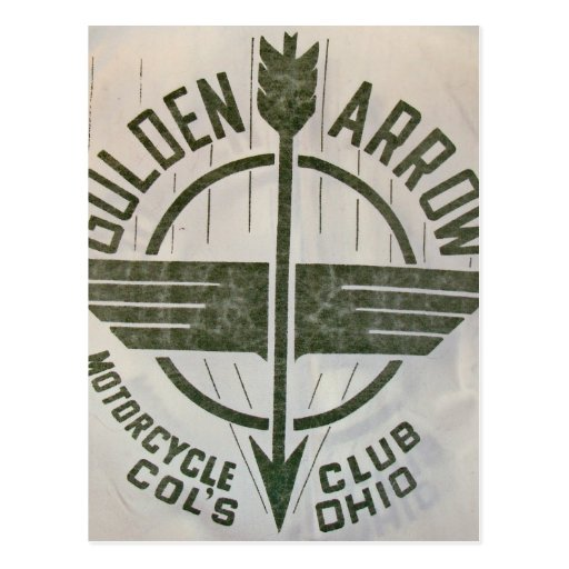 Vintages goldenes Pfeil-Motorrad-Logo Postkarte
