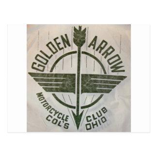 Vintages goldenes Pfeil-Motorrad-Logo Postkarten