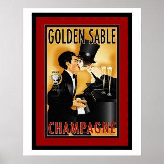 Vintages goldenes Sable-Champagne-Anzeigen-Plakat Poster