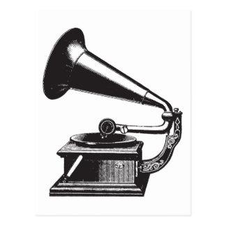 Vintages Grammophon Postkarte