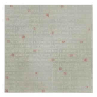 Vintages graues Bingo nummeriert Hintergrund Poster